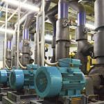 Water Pumping Station and Industrial Interior Pipes in High-rise Building Office .