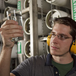 Technician Makes a Check of Water Quality in a Reverse Osmosis Water Treatment Plant.